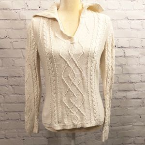 Talbots Off-white v-neck collared sweater